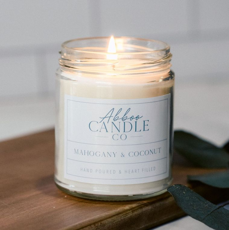 Mahogany & Coconut Soy Candle by Abboo Candle Co