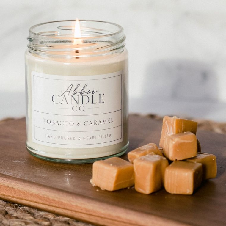 Tobacco & Caramel Soy Candle by Abboo Candle Co