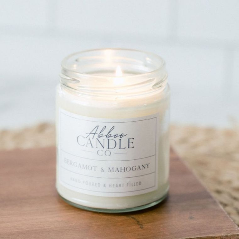 Bergamot & Mahogany Soy Candle by Abboo Candle Co