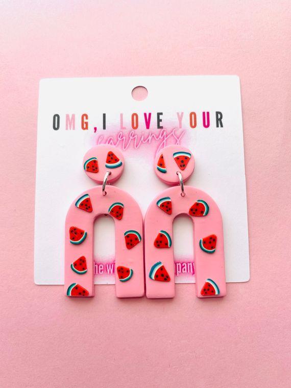 Wildflower Clay Earrings- Mini everly in watermelon