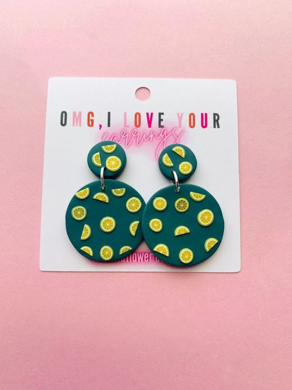 Wildflower Clay Earrings- Mini lawrence in lemons