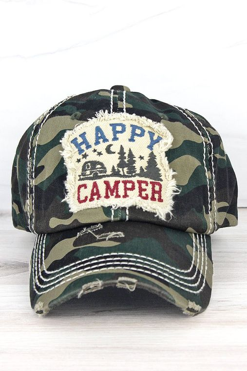 "Distressed Camo ""Happy Camper"" Baseball Cap"
