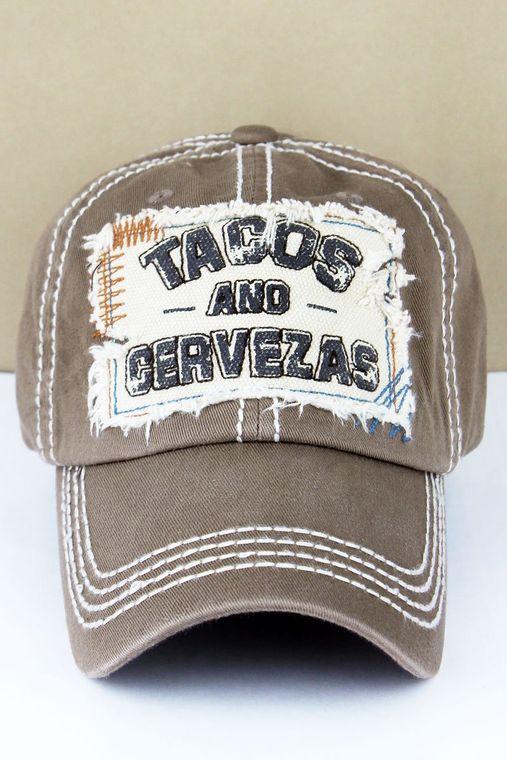 """Distressed Mocha """"Tacos and Cervezas"""" Baseball Cap"""