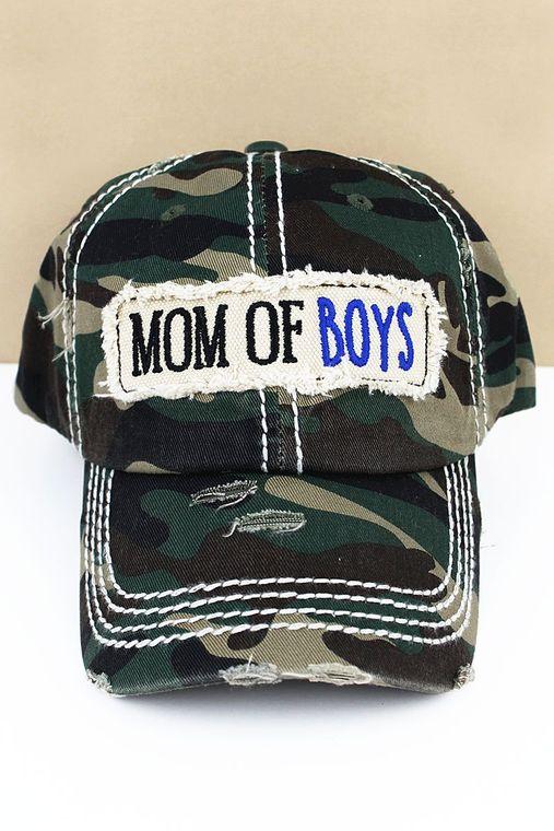 DISTRESSED CAMO 'MOM OF BOYS' CAP
