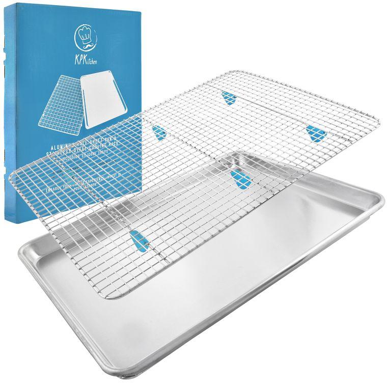 """Baking Sheet with Rack Set - (18"""" x 13"""" Pan / 16.8"""" x 11.8"""" Cooling Rack)"""