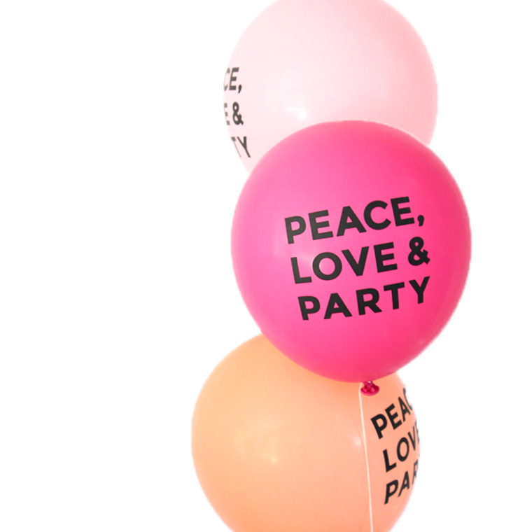 Peace Love and Party Latex Balloons