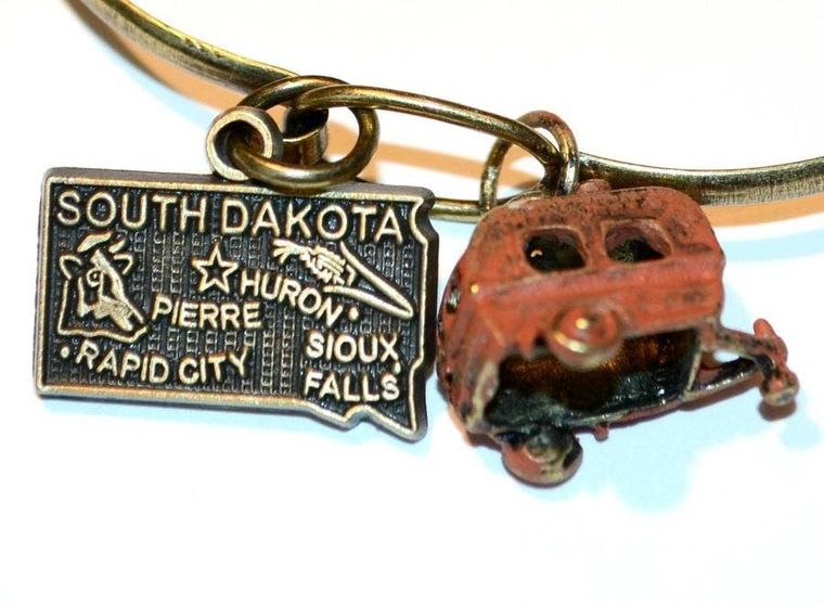 South Dakota State Necklace or Bracelet (2 Charm)