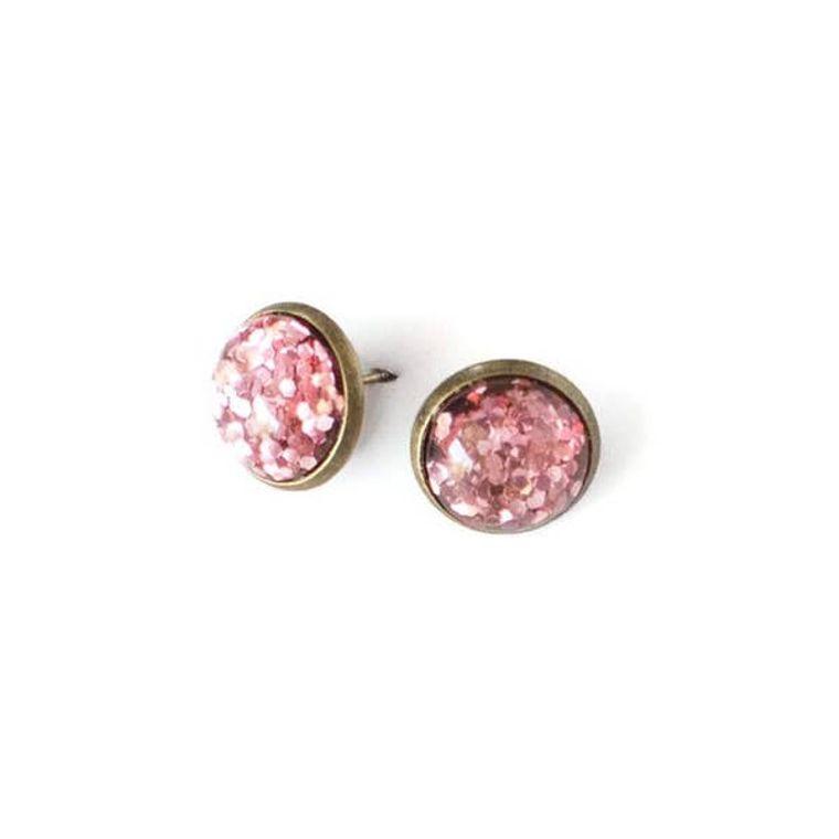 Glitter Bomb Earring Variety 9 Pack in Bronze Settings
