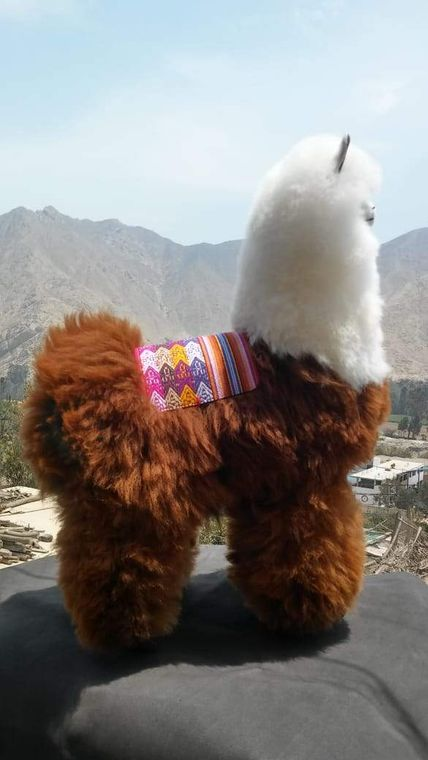 Handmade Big Alpaca with Saddle Toy