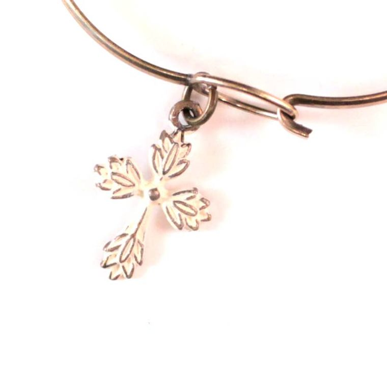 Floral Cross Charm Necklace