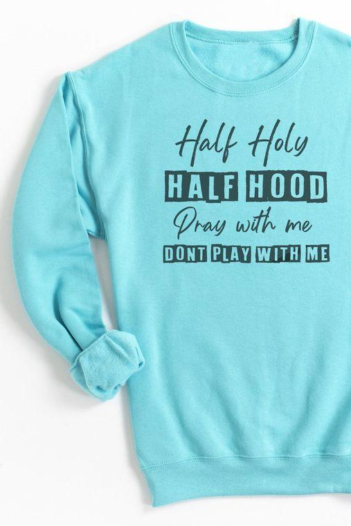 HALF HOLY HALF HOOD UNISEX NUBLEND CREW SWEATSHIRT