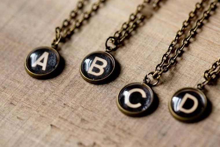 Typewriter Dome Initial Necklace