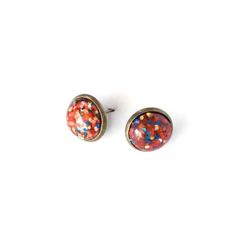Glitter Bomb Earrings In Shades Of Red