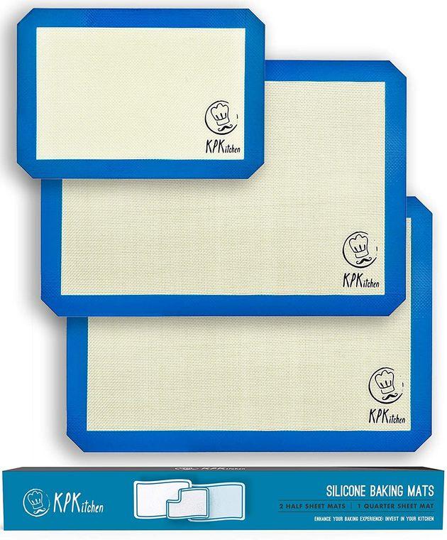 Silicone Baking Mats Set of 3 -  2 Half Sheets + 1 Quarter Sheet Mat