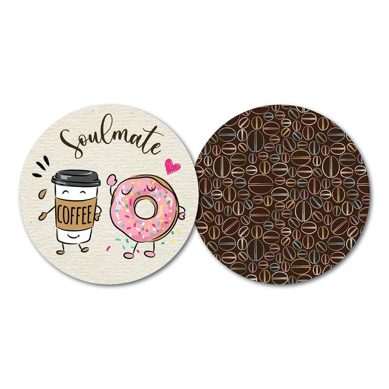 Set of 10 Luxury Paper Coasters - Double-sided with different design on each side - Soulmate