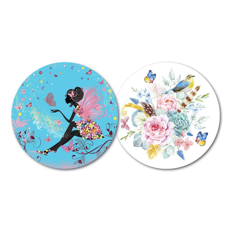 Set of 10 Luxury Paper Coasters - Double-sided with different design on each side-Butterfly Princess