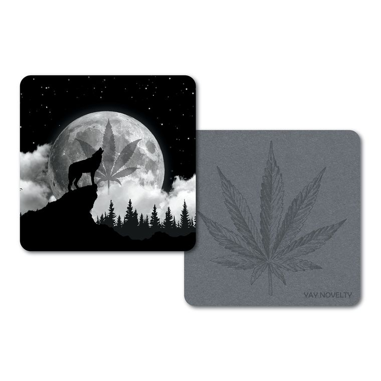 Set of 10 Cannabis Paper Coasters - Double-sided with different marijuana leaf design - Howling Wolf
