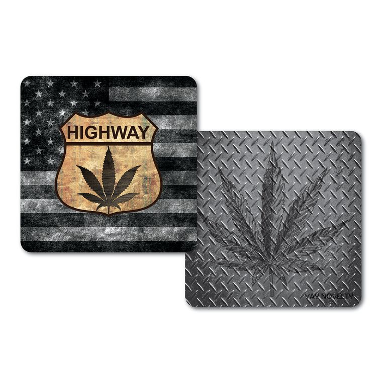 Set of 10 Cannabis Paper Coasters - Double-sided with different marijuana leaf design - HIGHWAY