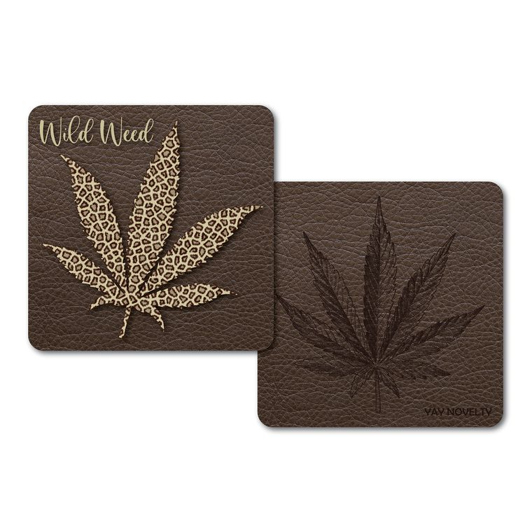 Set of 10 Cannabis Paper Coasters - Double-sided with different marijuana leaf design - Wild Weed
