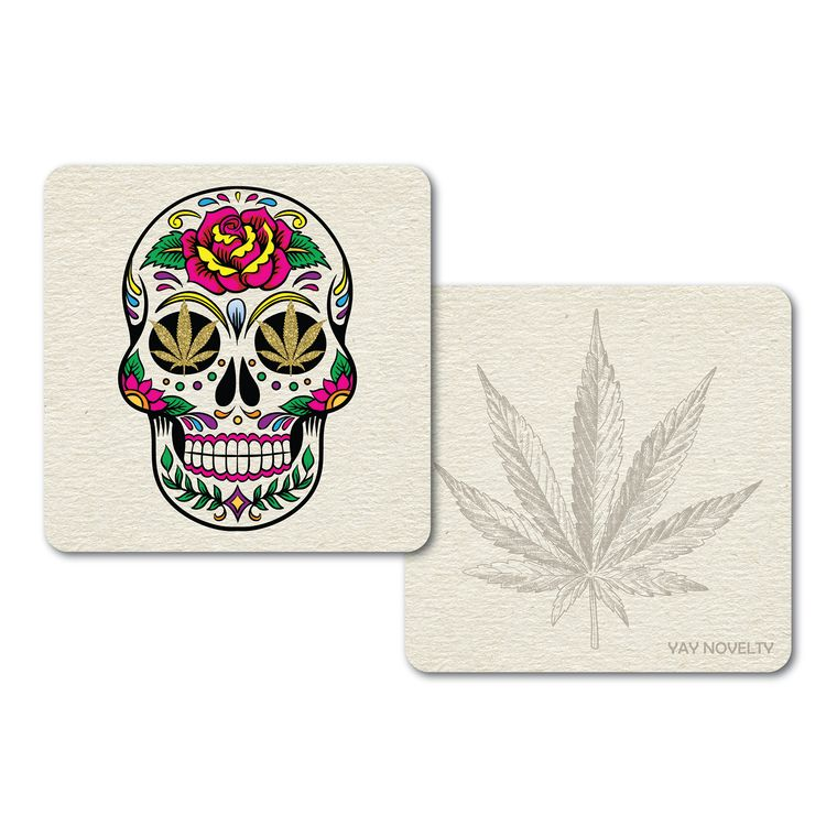 Set of 10 Cannabis Paper Coasters - Double-sided with different marijuana leaf design - Calavera