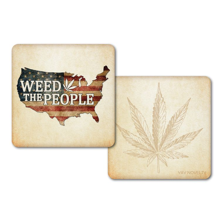 Set of 10 Cannabis Paper Coasters-Double-sided with different marijuana leaf design-Weed The People