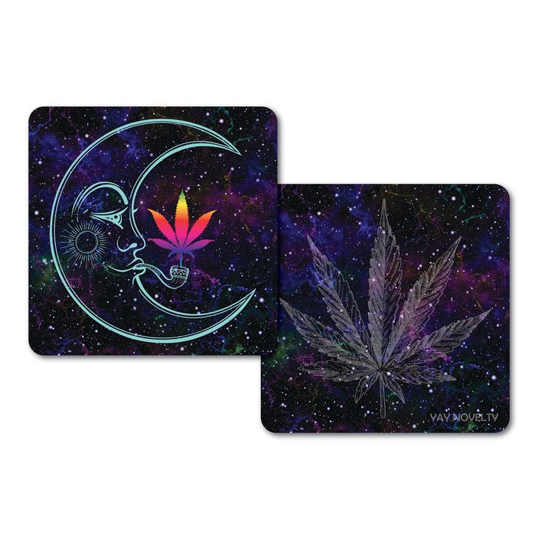 Set of 10 Cannabis Paper Coasters - Double-sided with different marijuana leaf design-Over The Moon