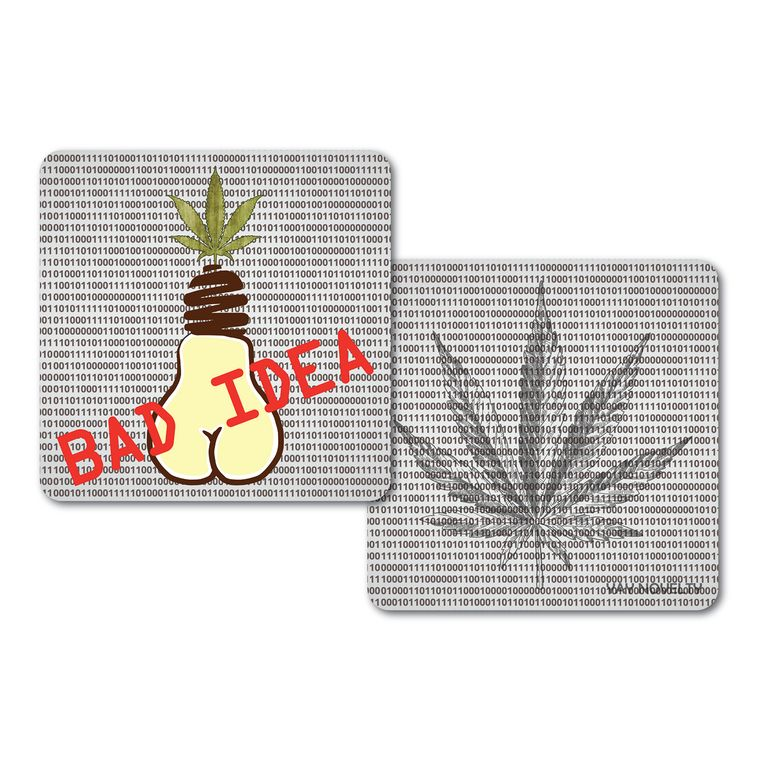Set of 10 Cannabis Paper Coasters - Double-sided with different marijuana leaf design - Bad Idea