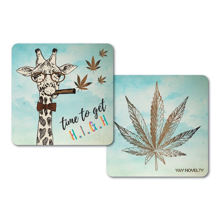 Set of 10 Cannabis Paper Coasters-Double-sided with different marijuana leaf design-Time to Get High