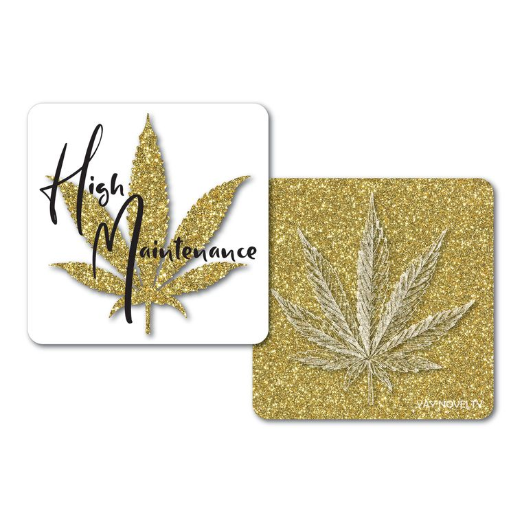 Set of 10 Cannabis Paper Coasters-Double-sided with different marijuana leaf design-High Maintenance