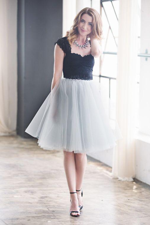 """Wendy 25"""" Length Tulle Skirt - Dove Gray"""