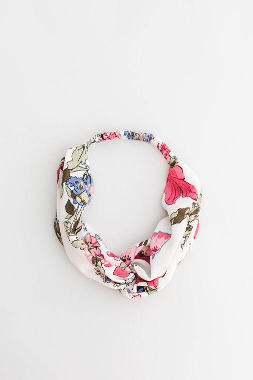 Bright Floral Twist-front Turban Headband