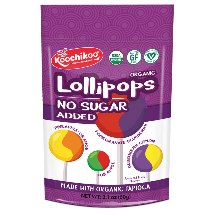 Organic, Sugar-Free Lollipops Stand-Up Zip Pouch (10 pc)