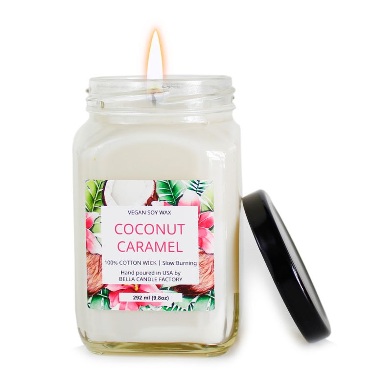 Coconut Caramel: square jar soy wax candle