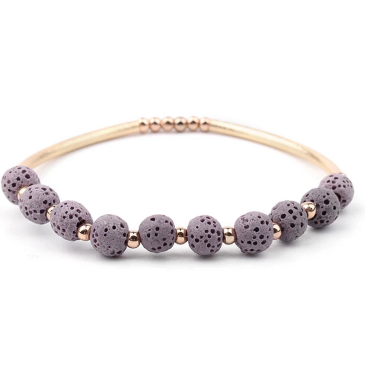 Lava Stone Essential Oil Bracelet - Purple Lava Stone and Gold