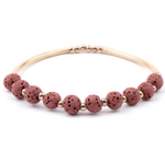 Lava Stone Essential Oil Bracelet - Rose Lava Stone and Gold