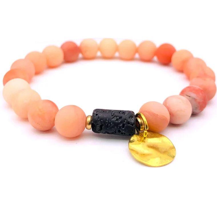 Sun Goddess Lava Stone Essential Oil Bracelet Pink