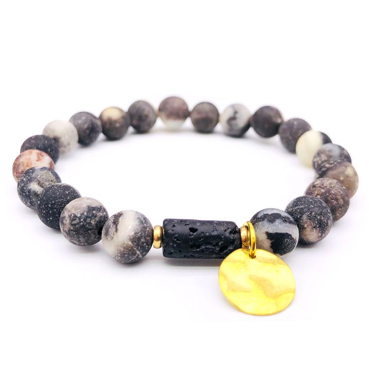 Sun Goddess Lava Stone Essential Oil Bracelet Grey