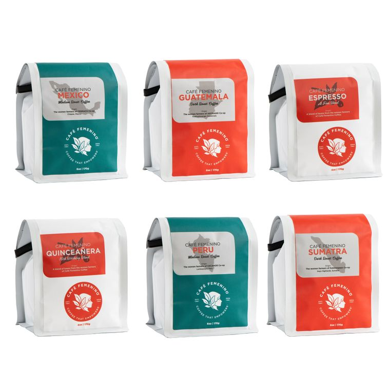 Cafe Femenino Whole Bean Sample Pack (six 6oz bags)