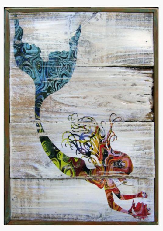 Mermaid Coastal Chic Colorful Wall Art