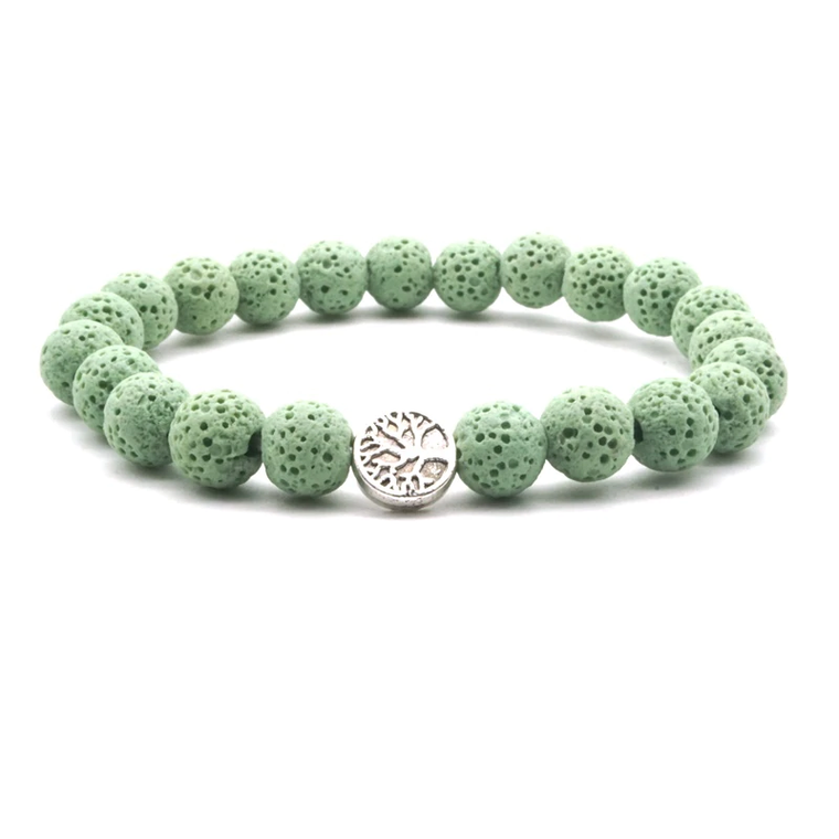 Light Green Lava Stone Tree of Life Essential Oil Bracelet