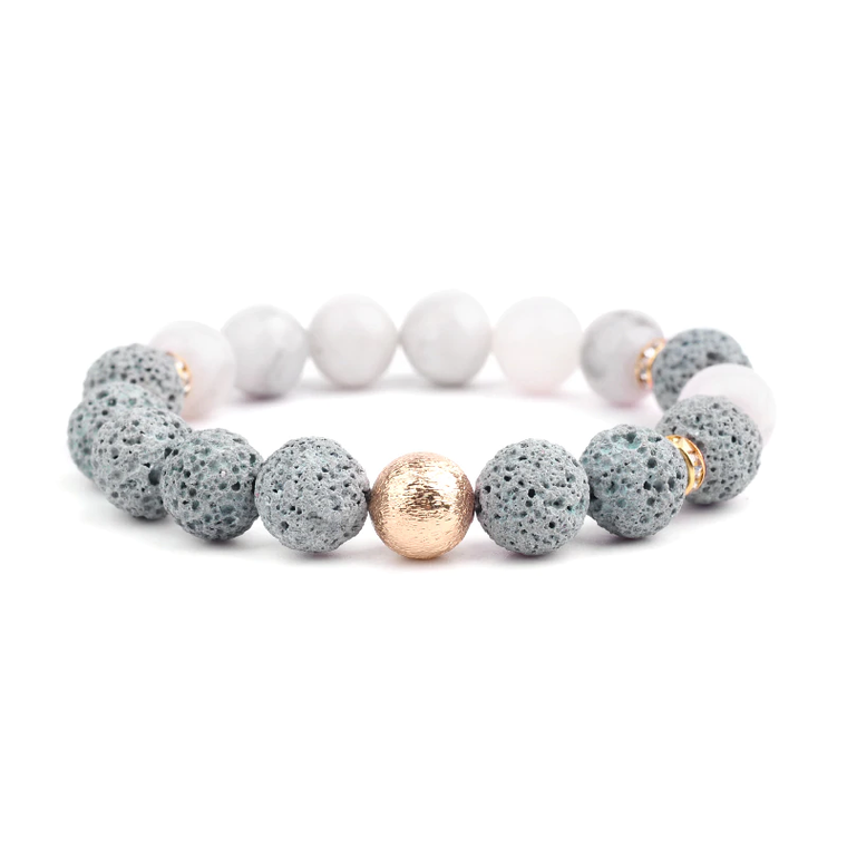 Lava Stone Essential Oil Bracelet - Agate Gold