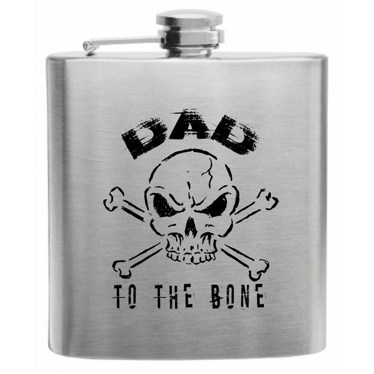 Dad to the Bone Stainless Steel 6 oz Hip flask