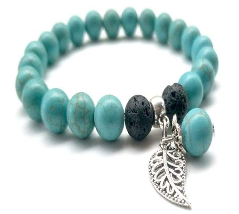 Turquoise Lava Stone Feather Charm Essential Oil Bracelet