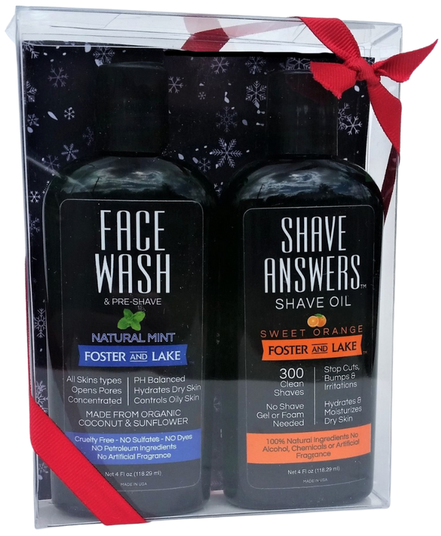 Wash N Shave Holiday Gift Set- Natural Mint & Shave Answers Shave Oil- Sweet Orange