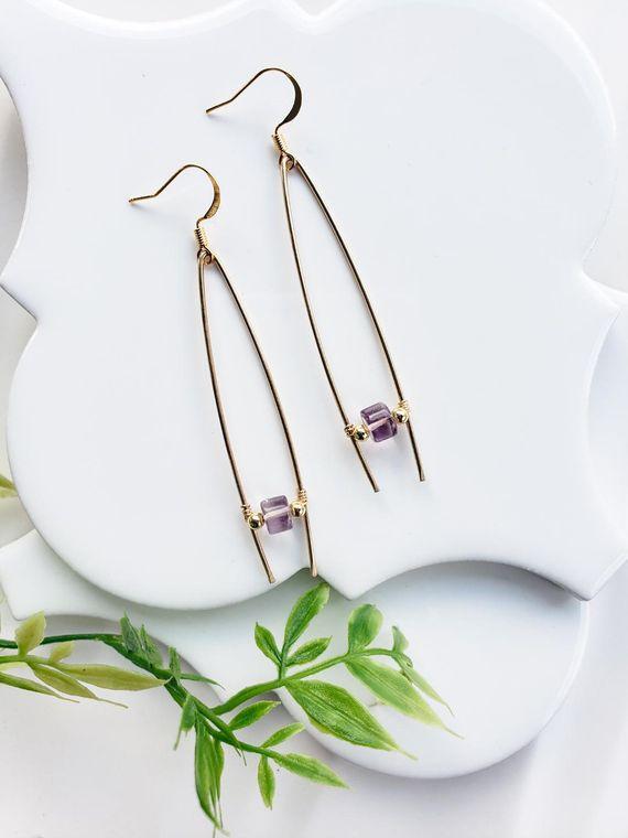Amethyst Triangle Hoop Earrings/Stella