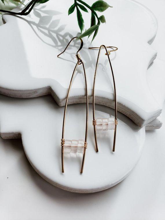 Rose Quartz Tringle hoops/Stella
