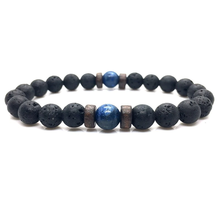 Wood and Lava Stone Essential Oil Bracelet - Blue 2