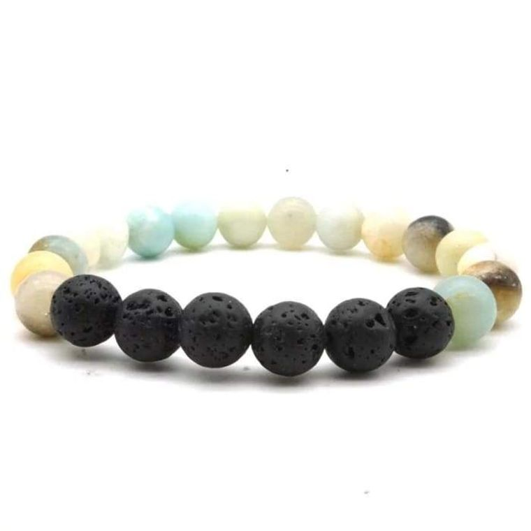 Amazonite Stone Black Volcanic Lava Stone Beads Essential Oil Diffuser Bracelet