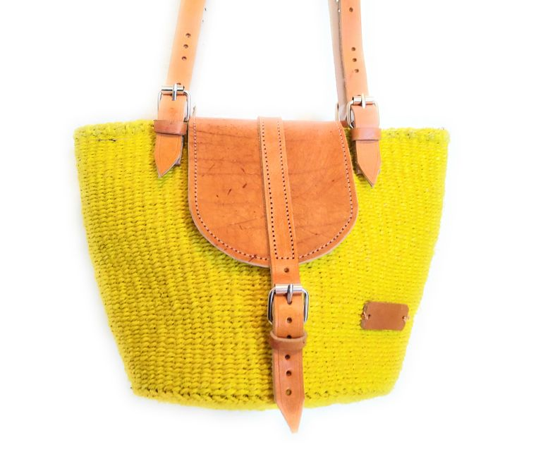 Yellow Kiondo Sisal Bag