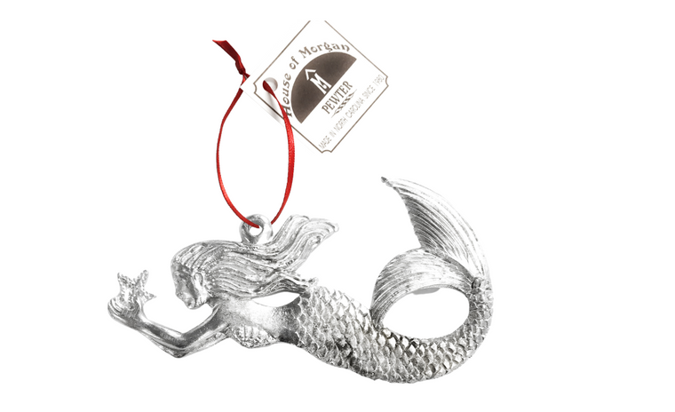 Mermaid Holding Starfish - Christmas Ornament, Ceiling Fan Pull, Cake Topper